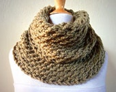 LT KHAKI (Or Choose Color) infinity scarf / cowl -- wool blend, chunky, fashion accessories