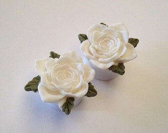 SALE White Vintage Rose Ear Plugs
