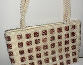 vintage pearl look  beaded purse cream white with leopard shel;l or plastic squares has 60.00 tag on it
