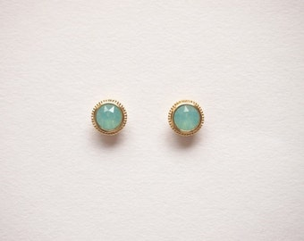 Pacific Opal Round Stud earrings - titanium earrings-  with swarovski pacific  oparl -dainty