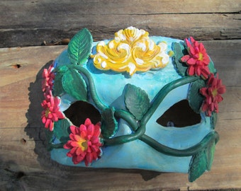 tropical, Costume mask, one of a kind, Mardi Gras Mask, Masquerade ball, pink yellow and blue, green vine, aqua blue, lily