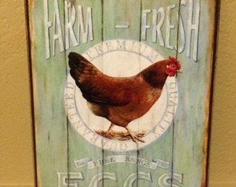"""9"""" x 12"""" Farm Fresh Eggs Sign"""