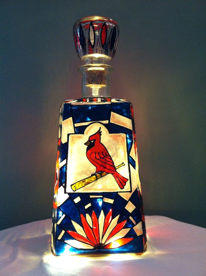 St louis cardinals stained glass whiskey bottle for Wine and paint st louis