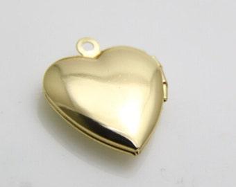 6 pcs of brass heart locket 20mm-BL3014-18k gold