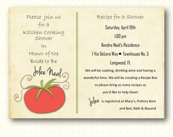 Bridal Shower Invitation, kitchen, couples, jack, jill, wedding, rustic, tomato, olives, digital, printable, invite BW1457