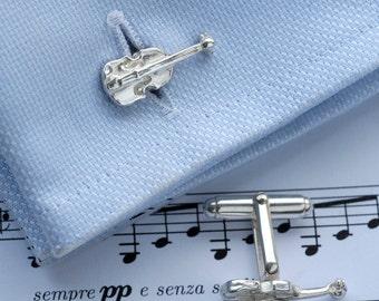 Violin Cufflinks in Sterling Silver.