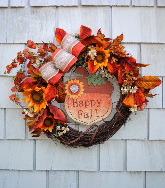 Fall Wreath Autumn Harvest Wreath For The Door Sale Floral And