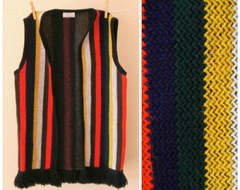 Hippie Striped Woven Vest. 70's Fringe Sweater Vest. Knitted Wool. Colorful. Boho. Medium M