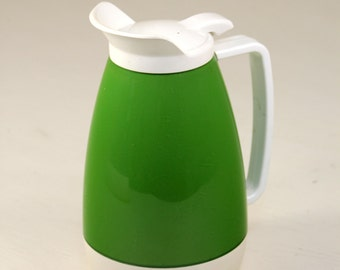 Vintage Mid Century Modern Apple Green & White West Bend Thermo-Serv Insulated Thermos Beverage Serving Pitcher
