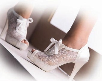 Wedding shoes, Handmade LACE and satin  Wedding shoes #8445