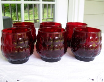 Set of 6 Vintage Ruby Red Bubble Juice Glasses by Anchor Hocking  50's