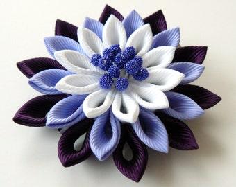 Kanzashi fabric flower hair clip. Plum, iris and white. Japanese hair clip. Kanzashi hair flower.
