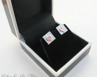 Heart Earrings, Christmas Gift, Sterling Silver Stud Earrings, Sterling Silver & Copper Jewelry, Gift idea for her, Gift Boxed