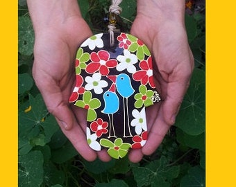 hand painted glass hamsa - BIRDS &FLOWERS