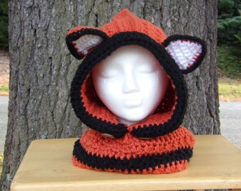 Fox Cowl - Hooded Cowl- Fox Hat - Fox Hooded Cowl - Hat Scarf -  Animal Hat - Hats- Hats for Kids - Hats for Women