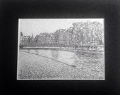 Midnight In Paris original pencil drawing print.