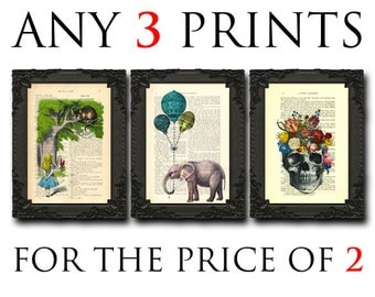 animal nursery set of 3 art prints choose any 3 prints you like from my shop