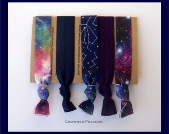 CONSTELLATION 5pc Hair Ties Set, Cosmic, Galaxy, Sky and Stars, Milky Way, Star Gazing, Astronomy, No Tug, No Dent,  Yoga Bands