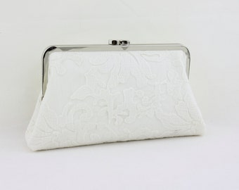 White Lace on White Bridal Clutch / Ivory Lace Wedding Clutch / Bridal Purse / Bridesmaid Clutch - Blossom