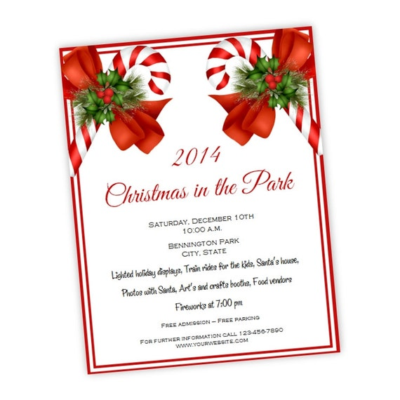 Christmas Party Invitation • Holiday Party Flyer 8.5 x 11 • Candy ...