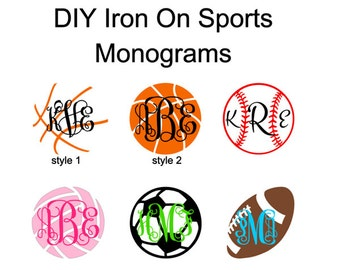 DIY Iron On Sports Monograms, Basketball, Football, Soccer, Volleyball, Baseball