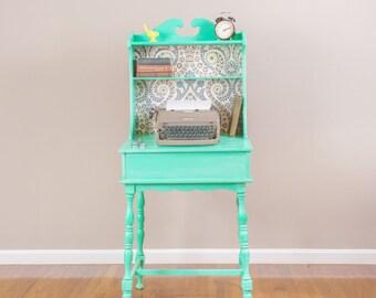 ITEM IS SOLD - Vintage Mint Green Secretary's Desk