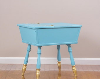 ITEM IS SOLD - Blue and Gold Moroccan Side Table/Nightstand