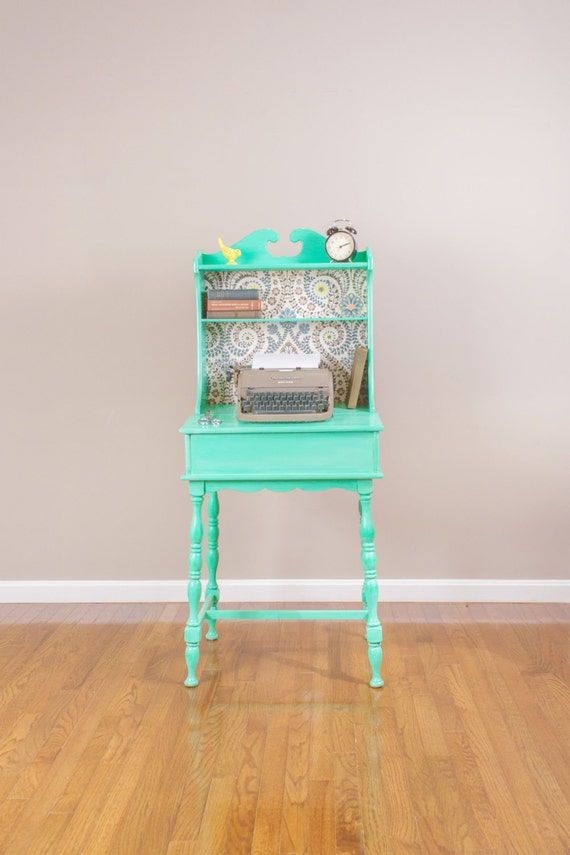 SOLD Vintage Mint Green Secretary s Desk