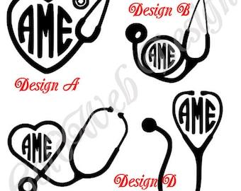 Peronalized Nurse Monogram, Stethoscope, Doctor Monogram Vinyl Car Decal