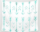 Teal Arrow Hanging Tapestry - Wall Tapestry - Teal Arrow Art - Large Wall Photograph - Home Decor - Made to Order