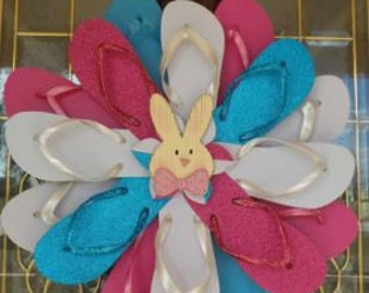 Handmade Bunny Center Easter Flip Flop Wreath Door Wall Decor Beach