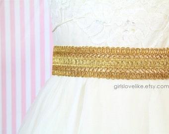 Gold Metallic Netting Lace on Champagne Satin Ribbon Sash, Bridal Sash, Bridesmaid Sash , Flowre Girl Sash