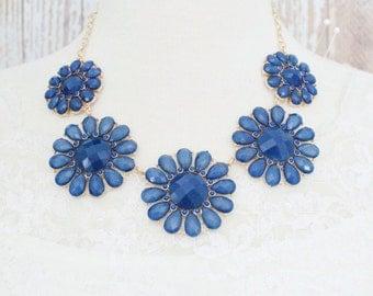 Teal Color Flower Bib Necklace, Teal Statement Necklace, Bridal Teal Necklace, Bridesmaid Teal Necklace