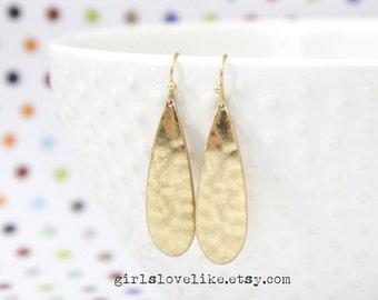 Simple Gold Brushed Long Tear Drop Earrings, Gold Earrings, Bridesmaid Earrings, Bridal Shower Gift