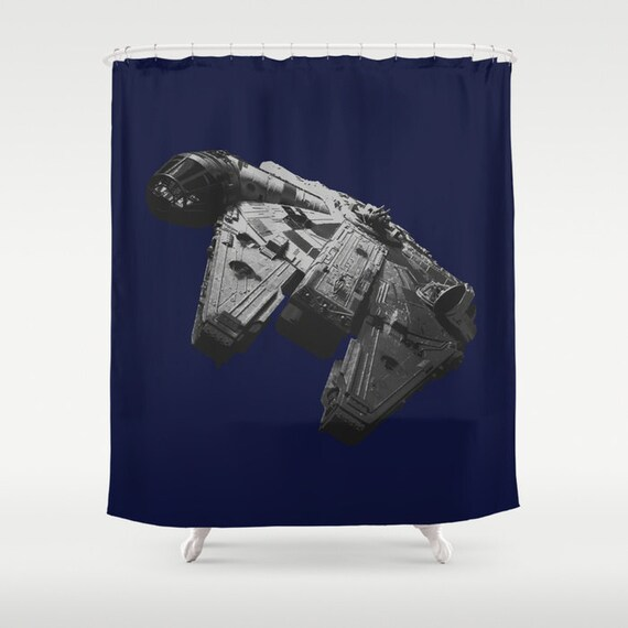 Star Wars Millennium Falcon Shower Curtain in Black and White on Navy