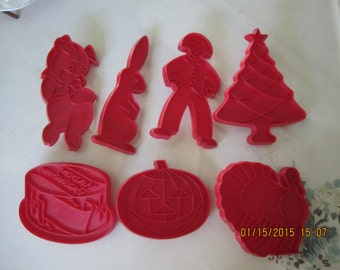 Vintage Red Tupperware Cookie Cutters All Occasion