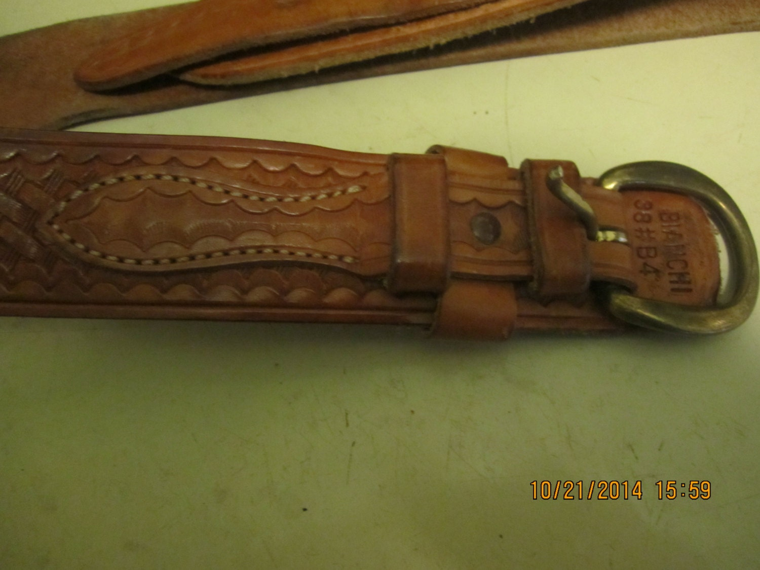 vintage tooled bianchi leather gun belt 1980s brass