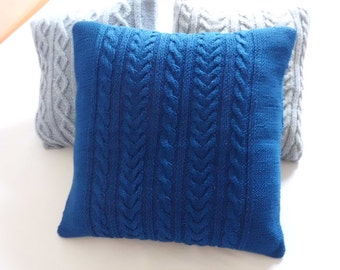 Ultramarine Blue Cable Knit Pillow Cover, Couch Throw Pillow 18x18, Decorative Ink Pillow, Cotton Knit Pillow Case, Knit Pillow Cover