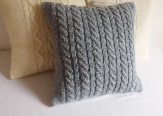 Grey Knit Throw Pillow : Knitted pillow cover speckled gray cable knit pillow case