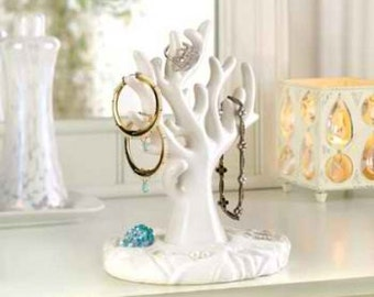 White Tree Branch Jewelry Holder Porcelain Earring Rack Under the Sea Necklace Organizer  Unique  Gift Bedroom Home Decor