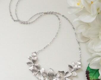 Orchid Necklace. Wedding Necklace. Bridesmaid Necklace.