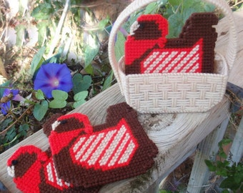 Needlepoint Coasters, Choice of Hens or Pansies