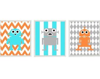Robot Wall Art, Baby Boy Nursery Prints, Robot Nursery Decor, Orange Aqua Gray, Big Boy Room, Toddler Room, Boy Wall Art, Chevron, Stripes