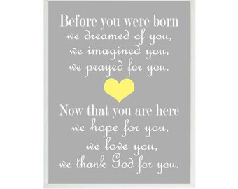 Before You Were Born Quote, Wall Art, Baby Boy Nursery, Yellow Gray Decor, Baby Girl Nursery, Nursery Wall Art, Baby Shower Gift, Typography