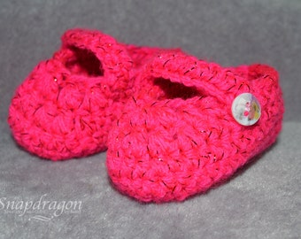 Hot pink glitter thread Mary Jane Baby shoes - sole 3.5'' 0-3 months old