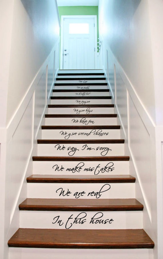 Vinyl Stairs Decal Quote In This House We Are Family We Love Do /  Inspirational Text Wall Art Decor Home Sticker + Free Random Decal Gift