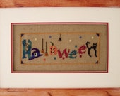 Halloween Cross Stitch Instant Download PDF Pattern. Counted Embroidery Design Whimsical Fun X Stitch Autumn Fall DIY Home Decor