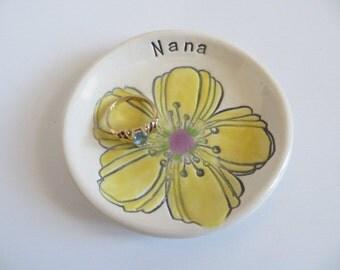 Nana Gift, ring dish, ring holder, yellow flower, handmade earthenware pottery, Gift Boxed, IN STOCK