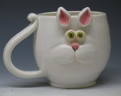 Cat Mug -  Super cute green eye Kitty - Hand made mugs & pottery by Heidi - Made to Order - May not arrive in time for Christmas