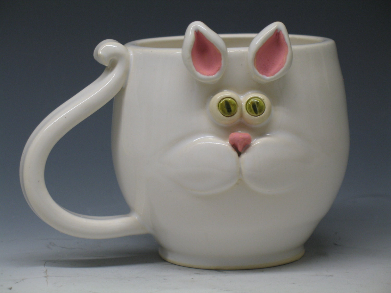 Cat mug super cute green eye kitty hand made mugs for Cute pottery designs